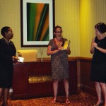 L-R Miss Jennifer Joseph, Alma Jordan Library, University of the West Indies, Monique Roffey, Professor Alison Donnell, Diasporic Literary Archives Network